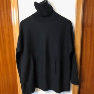 Tahari Black Merino Wool Sweater Poncho